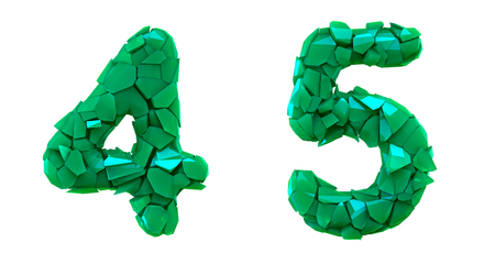 Number set 4, 5 made of 3d render plastic shards green color. Collection of plastic number isolated on white.