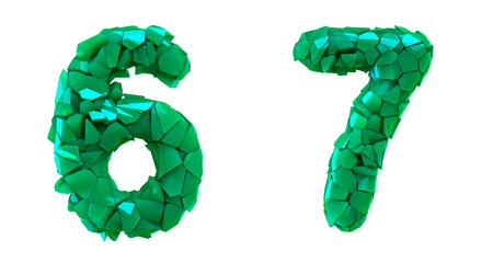 Number set 6, 7 made of 3d render plastic shards green color. Collection of plastic number isolated on white.