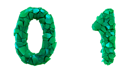 Number set 0, 1 made of 3d render plastic shards green color. Collection of plastic number isolated on white. 스톡 콘텐츠