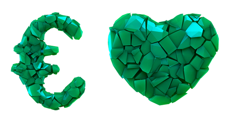 Symbol collection euro and heart made of 3d render plastic shards green color. Collection of plastic symbol isolated on white background