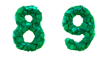 Number set 8, 9 made of 3d render plastic shards green color. Collection of plastic number isolated on white. 스톡 콘텐츠