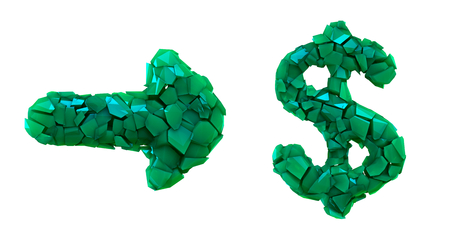 Symbol collection arrow and dollar made of 3d render plastic shards green color. Collection of plastic symbol isolated on white background