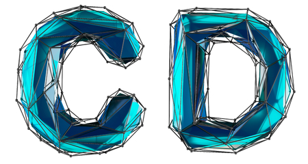 Letter set C, D made of realistic 3d render blue color. Collection of low polly style alphabet isolated on white background