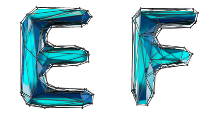 Letter set E, F made of realistic 3d render blue color. Collection of low polly style alphabet isolated on white background
