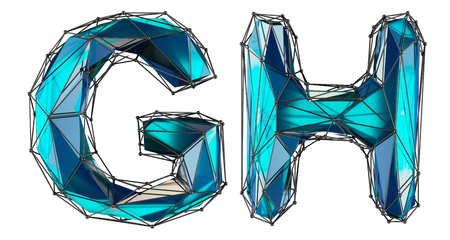Letter set G, H made of realistic 3d render blue color. Collection of low polly style alphabet isolated on white background