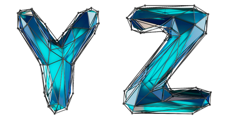 Letter set Y, Z made of realistic 3d render blue color. Collection of low polly style alphabet isolated on white background