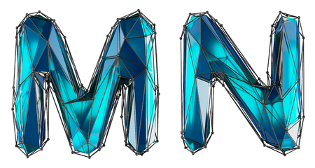 Letter set M, N made of realistic 3d render blue color. Collection of low polly style alphabet isolated on white background Stok Fotoğraf