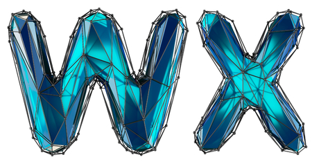 Letter set W, X made of realistic 3d render blue color. Collection of low polly style alphabet isolated on white background