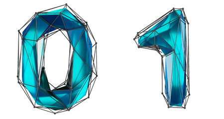 Number set 0, 1 made of realistic 3d render blue color. Collection of low polly style symbol isolated on white background