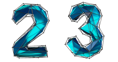 Number set 2, 3 made of realistic 3d render blue color. Collection of low polly style symbol isolated on white background