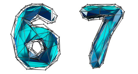 Number set 6, 7 made of realistic 3d render blue color. Collection of low polly style symbol isolated on white background Stok Fotoğraf