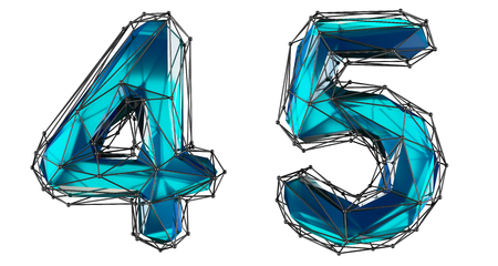 Number set 4, 5 made of realistic 3d render blue color. Collection of low polly style symbol isolated on white background Stok Fotoğraf