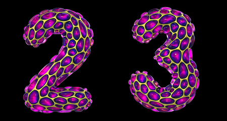 Number set 2, 3 made of realistic 3d render golden shining metallic. Collection of gold shining metallic with pink color glass symbol isolated on black background