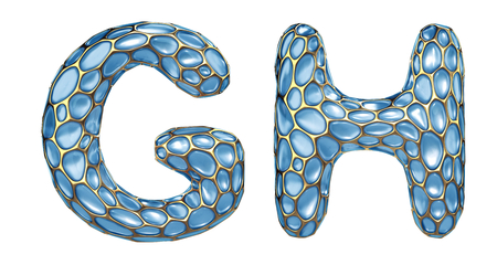 Realistic 3D letters set G, H made of gold shining metal letters. Collection of gold shining metallic with blue glass symbol isolated on white background