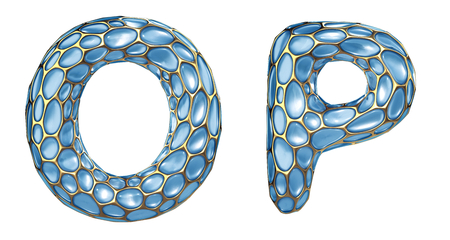 Realistic 3D letters set O, P made of gold shining metal letters. Collection of gold shining metallic with blue glass symbol isolated on white background 스톡 콘텐츠