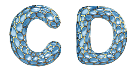 Realistic 3D letters set C, D made of gold shining metal letters. Collection of gold shining metallic with blue glass symbol isolated on white background