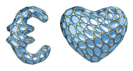 Symbol collection euro, heart made of 3d render blue diamond. Collection of symbol isolated on white.
