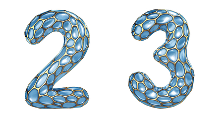 Number set 2, 3 made of realistic 3d render golden shining metallic. Collection of gold shining metallic with blue color glass symbol isolated on white background