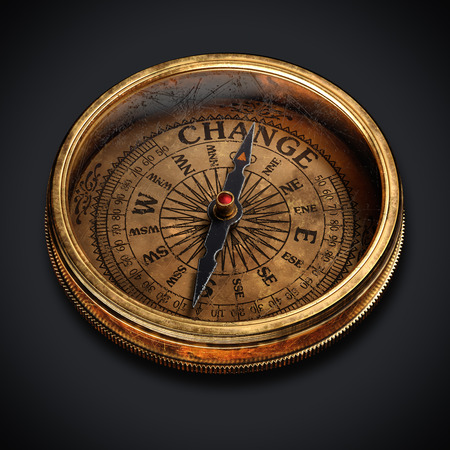 Vintage brass compass isolated on black background 3d rendering Фото со стока