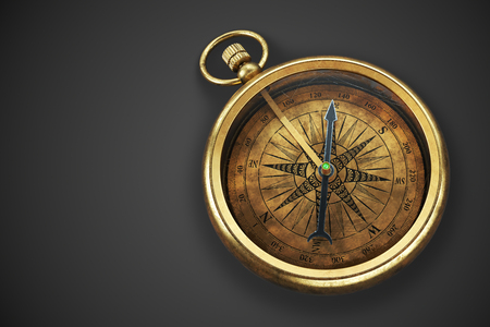 Vintage compass isolated on black background 3d rendering