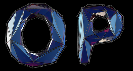 Letter set O, P made of realistic 3d render blue color. Collection of low polly style alphabet isolated on black background 3d