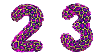 Number set 2, 3 made of realistic 3d render golden shining metallic. Collection of gold shining metallic with pink color glass symbol isolated on white background