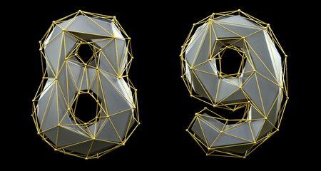 Number set 8, 9 made of silver color glass. Collection symbols of gold low poly style silver color glass isolated on black background 3d rendering Stock fotó