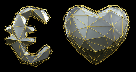 Symbol collection euro and heart made of 3d render silver color. Collection of gold low polly style symbol isolated on black background