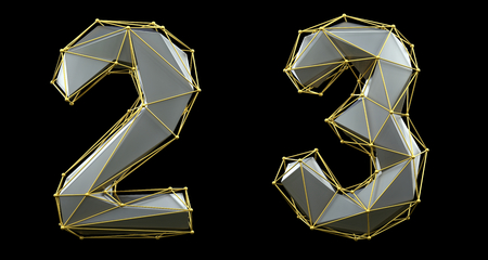 Number set 2, 3 made of silver color glass. Collection symbols of gold low poly style silver color glass isolated on black background 3d rendering Stok Fotoğraf