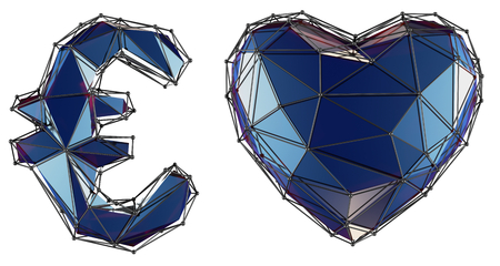 Symbol collection euro and heart made of 3d render blue color. Collection of low polly style symbol isolated on white background Stok Fotoğraf