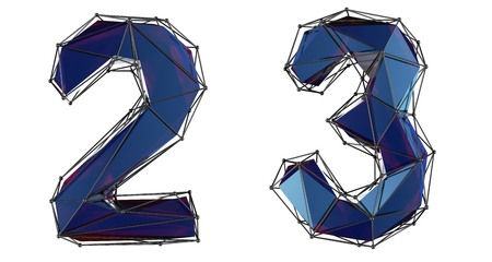 Number set 2, 3 made of blue color glass. Collection symbols of low poly style blue color glass isolated on white background 3d rendering