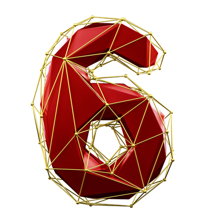 Low poly style number 6. Red and gold color isolated on white background. 3d rendering