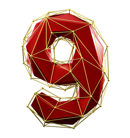 Low poly style number 9. Red and gold color isolated on white background. 3d rendering