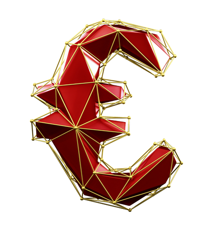 Euro sign made in low poly style red color isolated on white background. 3d rendering Stok Fotoğraf