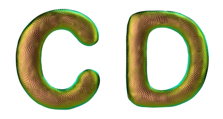 Letter set C, D made of realistic 3d render natural gold snake skin texture. Collection of snake skin texture with gold color symbol isolated on white background