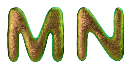 Letter set M, N made of realistic 3d render natural gold snake skin texture. Collection of snake skin texture with gold color symbol isolated on white background