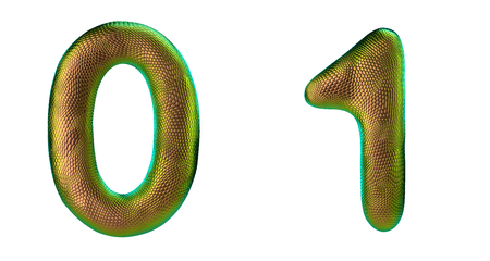 Number set 0, 1 made of realistic 3d render gold color. Collection of natural snake skin texture style symbol isolated on white background Stock Photo
