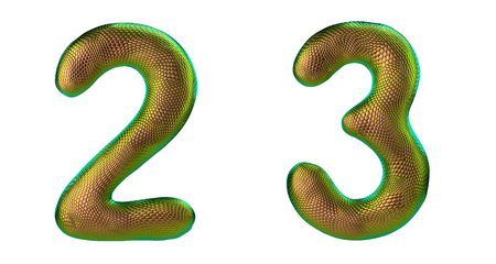 Number set 2, 3 made of realistic 3d render gold color. Collection of natural snake skin texture style symbol isolated on white background