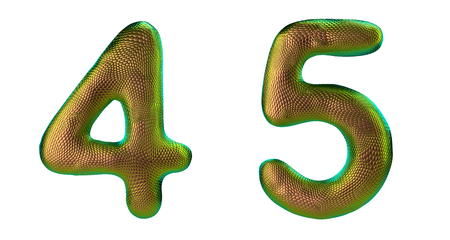 Number set 4, 5 made of realistic 3d render gold color. Collection of natural snake skin texture style symbol isolated on white background