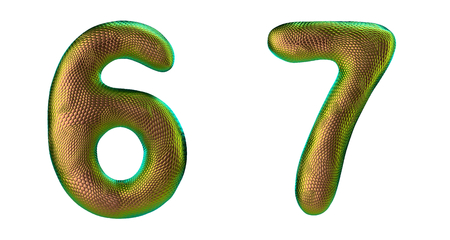 Number set 6, 7 made of realistic 3d render gold color. Collection of natural snake skin texture style symbol isolated on white background