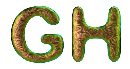 Letter set G, H made of realistic 3d render natural gold snake skin texture. Collection of snake skin texture with gold color symbol isolated on white background