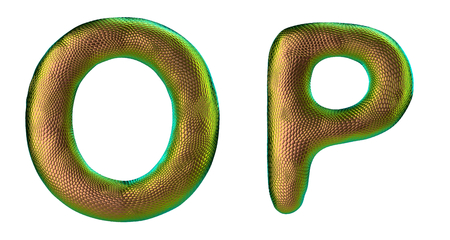 Letter set O, P made of realistic 3d render natural gold snake skin texture. Collection of snake skin texture with gold color symbol isolated on white background Stock Photo