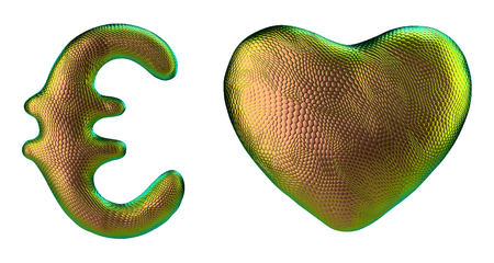 Symbol collection euro and heart made of 3d render gold color. Collection of natural snake skin texture style symbol isolated on white background Stock Photo