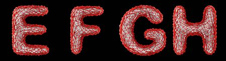 Realistic 3D letters set E, F, G, H made of red plastic. Collection symbols of plastic with abstract holes isolated on black background 3d rendering Reklamní fotografie