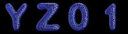 Realistic 3D letters set Y, Z, 0, 1 made of blue plastic. Collection symbols of plastic with abstract holes isolated on black background 3d rendering