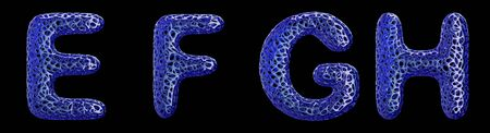 Realistic 3D letters set E, F, G, H made of blue plastic. Collection symbols of plastic with abstract holes isolated on black background 3d rendering