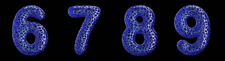 Number set 6, 7, 8, 9 made of blue plastic. Collection symbols of plastic with abstract holes isolated on black background 3d rendering Reklamní fotografie