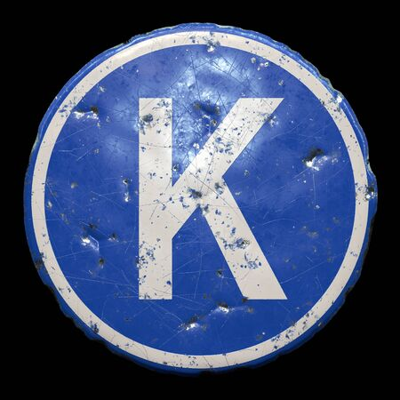 Public road sign in blue color with a capitol white letter K in the center isolated black
