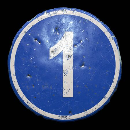 Public road sign in blue color with a capitol white letter 1 in the center isolated black 版權商用圖片