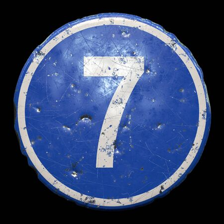 Public road sign in blue color with a capitol white letter 7 in the center isolated black
